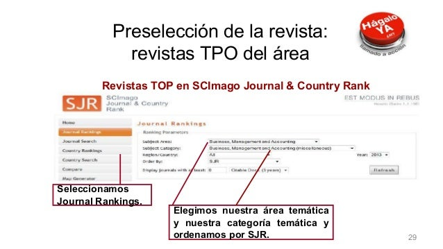 Revistas TOP en SCImago Journal & Country Rank Seleccionamos Journal Rankings. Elegimos nuestra área temática y nuestra ca...