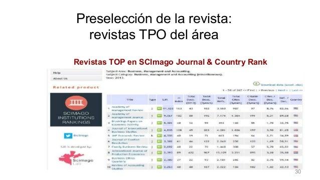Preselección de la revista Revistas TOP en SCImago Journal & Country Rank Preselección de la revista: revistas TPO del áre...