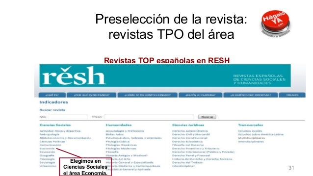 Preselección de la revista Revistas TOP españolas en RESH Elegimos en Ciencias Sociales el área Economía. Preselección de ...