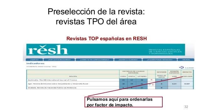 Preselección de la revista Revistas TOP españolas en RESH Pulsamos aquí para ordenarlas por factor de impacto. Preselecció...