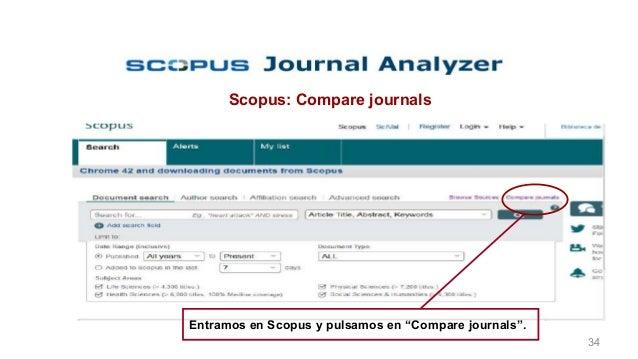 """Preselección de la revista Scopus: Compare journals Entramos en Scopus y pulsamos en """"Compare journals"""". 34"""