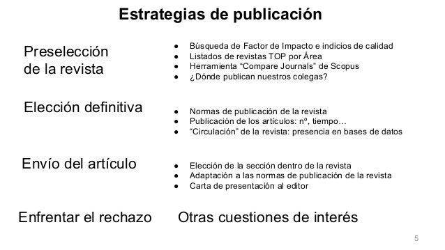 Preselección de la revista Envío del artículo ● Búsqueda de Factor de Impacto e indicios de calidad ● Listados de revistas...