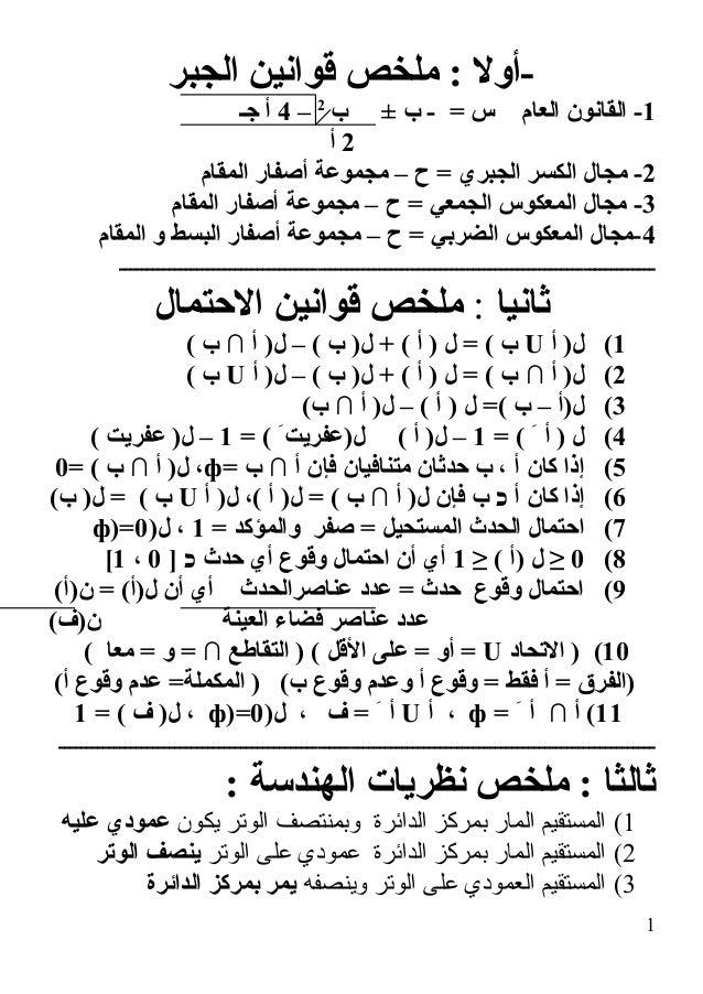 الجبر قوانين ملخص : -أول 1ب ± ب - = س العام القانون -2 –4جـ أ 2أ 2المقام أصفار مجموعة – ح ...
