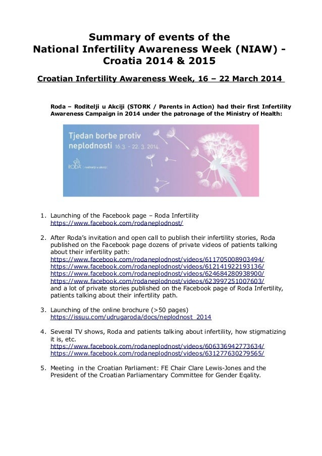 Summary of events of the National Infertility Awareness Week (NIAW) - Croatia 2014 & 2015 Croatian Infertility Awareness W...