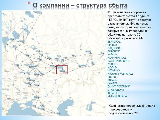 * 42 региональных торговых представительства Холдинга «ЕВРОЦЕМЕНТ груп» образуют разветвленную филиальную сеть, территориа...