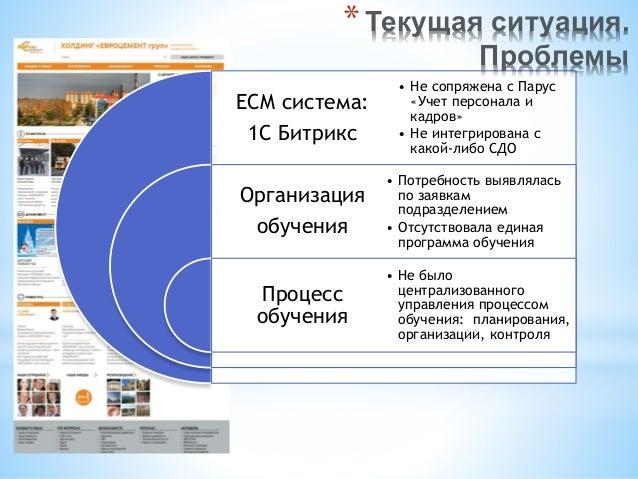 ECM система: 1С Битрикс Организация обучения Процесс обучения • Не сопряжена с Парус «Учет персонала и кадров» • Не интегр...