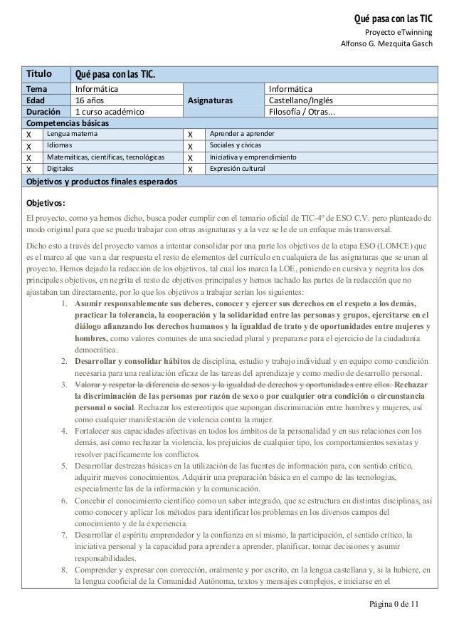 Qué pasa con las TIC Proyecto  eTwinning   Alfonso  G.  Mezquita  Gasch   Página 0 de 11      Título   Q...