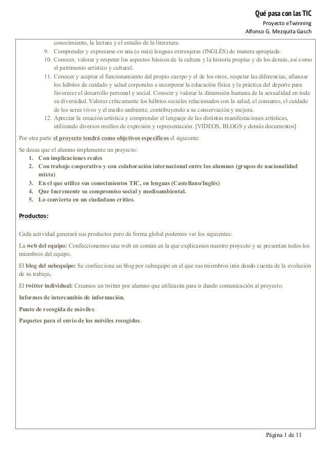 Qué pasa con las TIC Proyecto  eTwinning   Alfonso  G.  Mezquita  Gasch   Página 1 de 11   conocimiento, la ...
