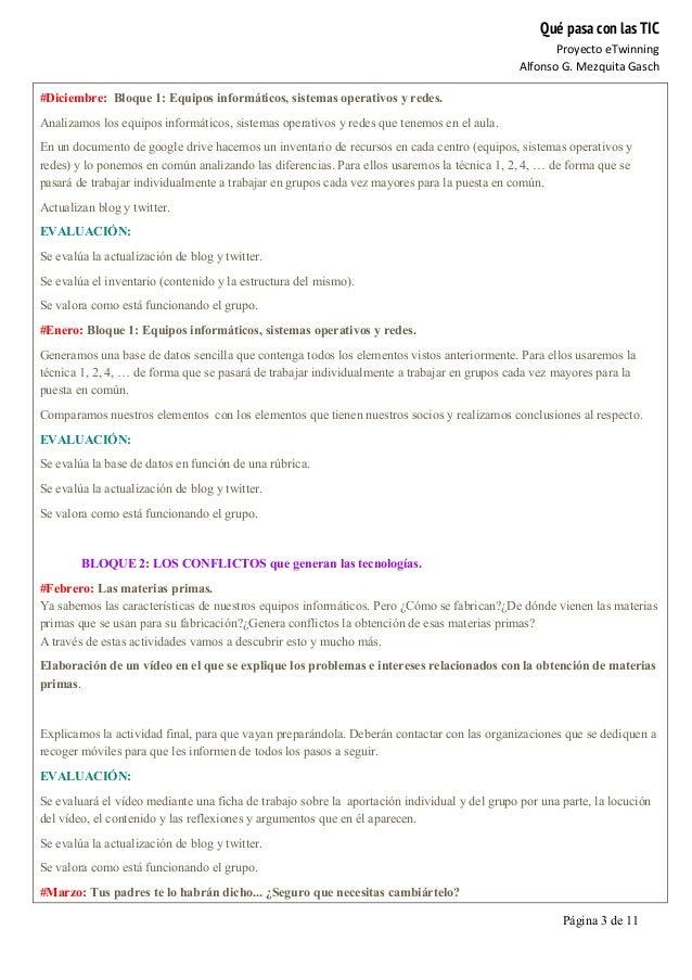 Qué pasa con las TIC Proyecto  eTwinning   Alfonso  G.  Mezquita  Gasch   Página 3 de 11   #Diciembre: Bloqu...