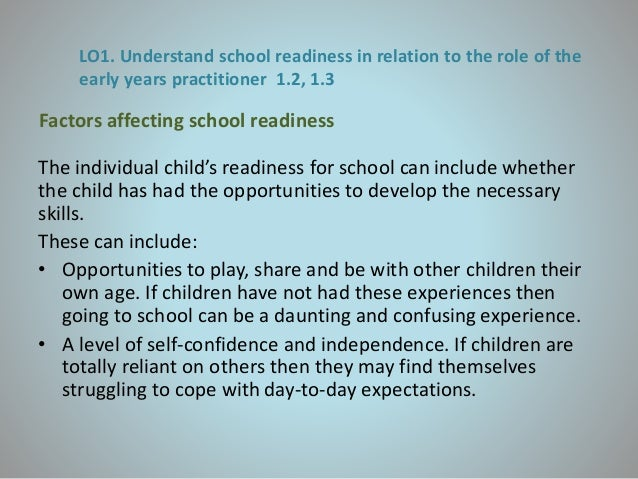 factors affecting the school readiness of Impacts of preschool interventions on children's school readiness outcomes, with   with demonstrating the size of the impacts on child outcomes but also with  trying  programmatic factors make the biggest difference for children's outcomes.