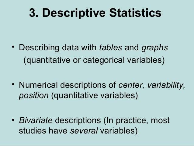 3. Descriptive Statistics • Describing data with tables and graphs (quantitative or categorical variables) • Numerical des...