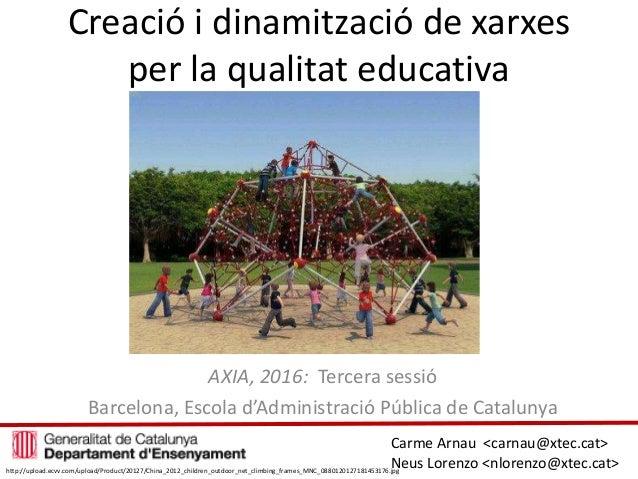 Creació i dinamització de xarxes per la qualitat educativa AXIA, 2016: Tercera sessió Barcelona, Escola d'Administració Pú...