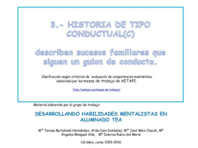 Clasificación según criterios de evaluación de competencias mentalistas elaborada por las mesas de trabajo de AETAPI. http...