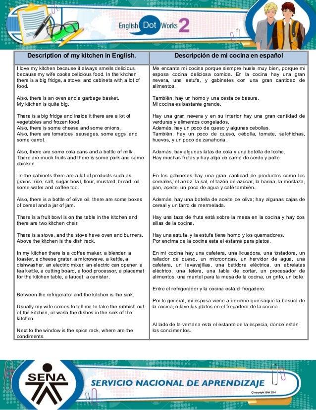 Evidence: Describing my kitchen. ENGLISH DOT WORKS 2. SENA. Slide 2