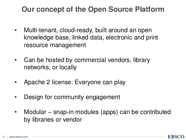 | www.ebsco.com11 Our concept of the Open Source Platform • Multi-tenant, cloud-ready, built around an open knowledge base...