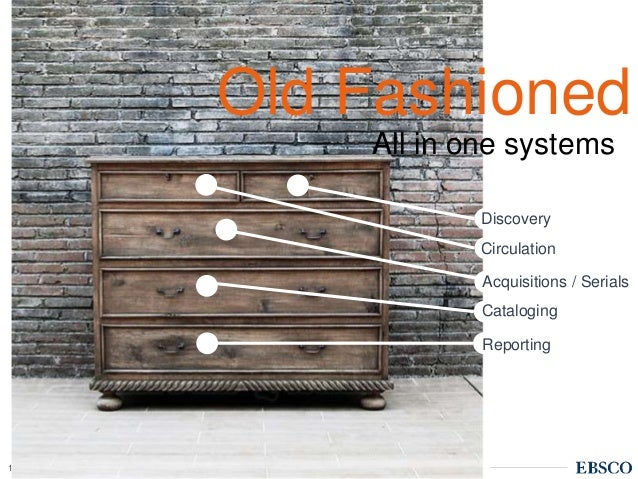 | www.ebsco.com14 All in one systems Discovery Circulation Acquisitions / Serials Cataloging Reporting Old Fashioned
