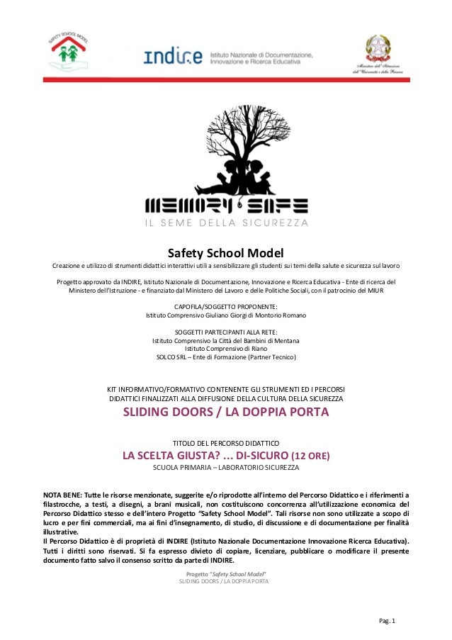 "Progetto ""Safety School Model"" SLIDING DOORS / LA DOPPIA PORTA Pag. 1 Safety School Model Creazione e utilizzo di strument..."