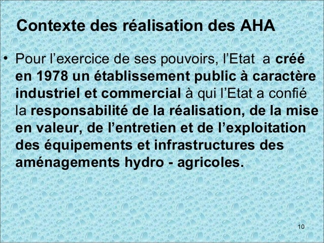Contexte des réalisation des AHA • Pour l'exercice de ses pouvoirs, l'Etat a créé en 1978 un établissement public à caract...