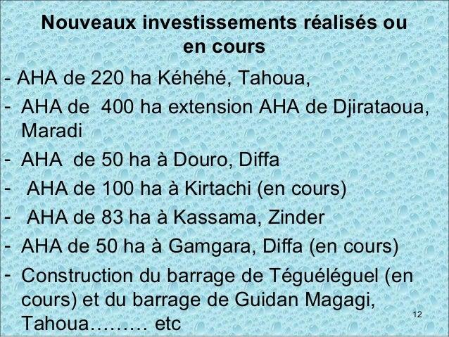 Nouveaux investissements réalisés ou en cours - AHA de 220 ha Kéhéhé, Tahoua, - AHA de 400 ha extension AHA de Djirataoua,...