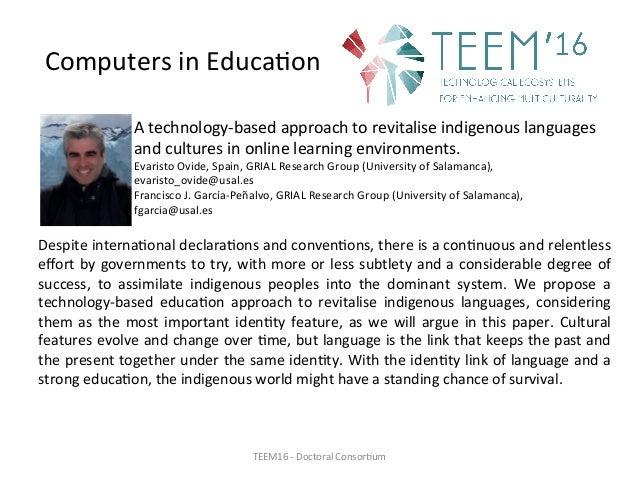 ComputersinEduca,on Atechnology-basedapproachtorevitaliseindigenouslanguages andculturesinonlinelearningenv...