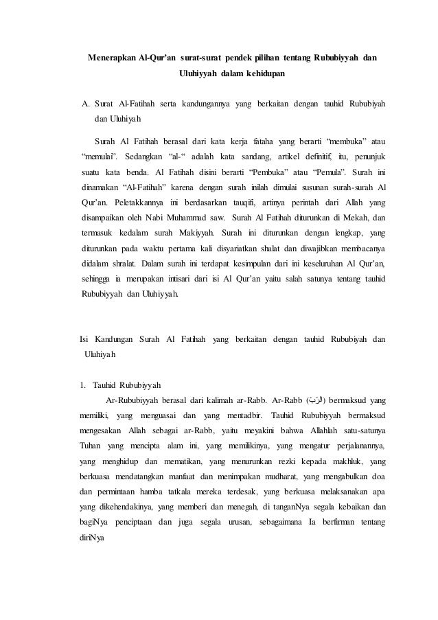Menerapkan Al Quran Surat Surat Pendek Pilihan Tentang