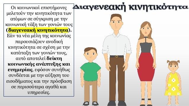 Οι κοινωνικοί επιστήμονες μελετούν την κινητικότητα των ατόμων σε σύγκριση με την κοινωνική τάξη των γονιών τους (διαγενεα...
