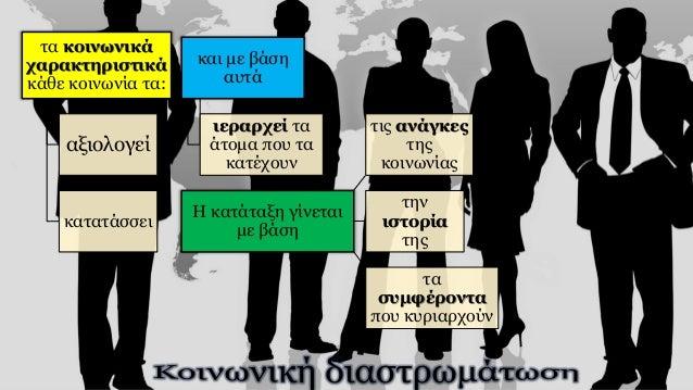 τα κοινωνικά χαρακτηριστικά κάθε κοινωνία τα: αξιολογεί κατατάσσει και με βάση αυτά ιεραρχεί τα άτομα που τα κατέχουν Η κα...