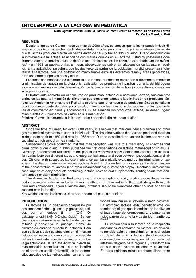 Revista de Posgrado de la VIa Cátedra de Medicina. N° 198 – Febrero 201016 INTOLERANCIA A LA LACTOSA EN PEDIATRIA Nora Cyn...