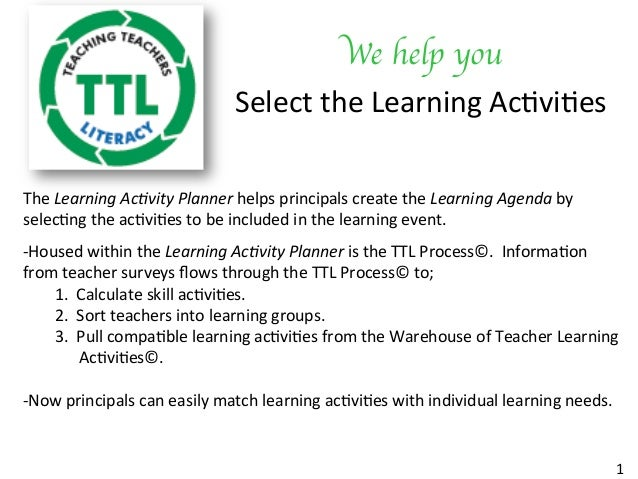 We help you	  Select	the	Learning	Ac/vi/es	 1	 The	Learning	Ac+vity	Planner	helps	principals	create	the	Learning	Agenda	by...