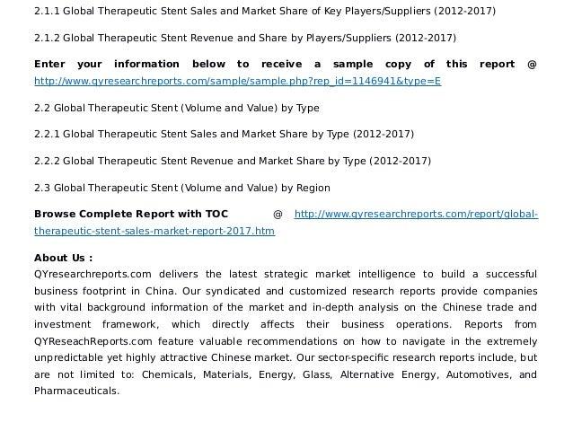 Global Therapeutic Stent Sales Market Report 2017 Abbott Laboratorie