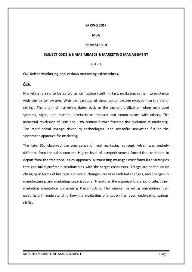 Marketing assignment for mba