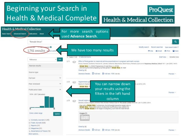 HealthMed Complete database searching, female fetus 2017
