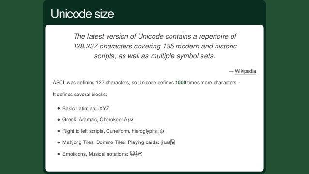 RemembertheASCIItable? UnicodevsASCII
