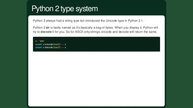 Pythonisastronglytypedlanguage,meaningthatPythonshouldn'tcoercetypesbehind yourback: '012'+3 Traceback(mos...