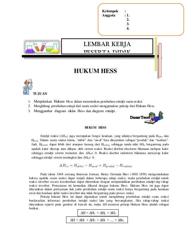 Lkpd termokimia hukum hess menjelaskan hukum hess dalam menentukan perubahan entalpi suatu reaksi 2 ccuart Images