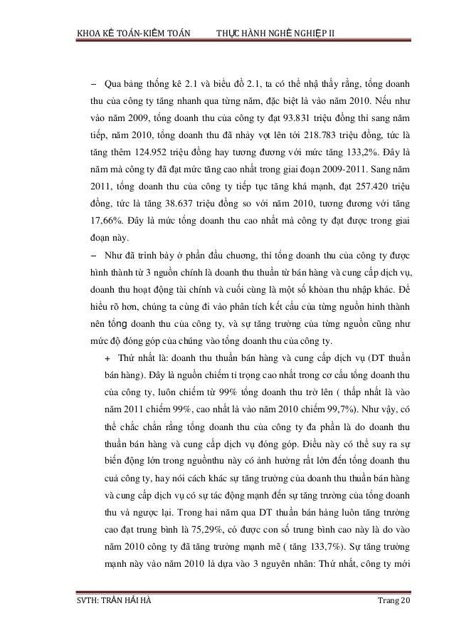 KHOA KẾ TOÁN-KIỂM TOÁN THỰC HÀNH NGHỀ NGHIỆP II SVTH: TRẦN HẢI HÀ Trang 20 Qua bảng thống kê 2.1 và biểu đồ 2.1, ta có thể...