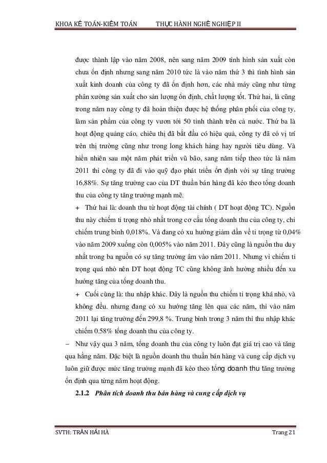 KHOA KẾ TOÁN-KIỂM TOÁN THỰC HÀNH NGHỀ NGHIỆP II SVTH: TRẦN HẢI HÀ Trang 21 được thành lập vào năm 2008, nên sang năm 2009 ...