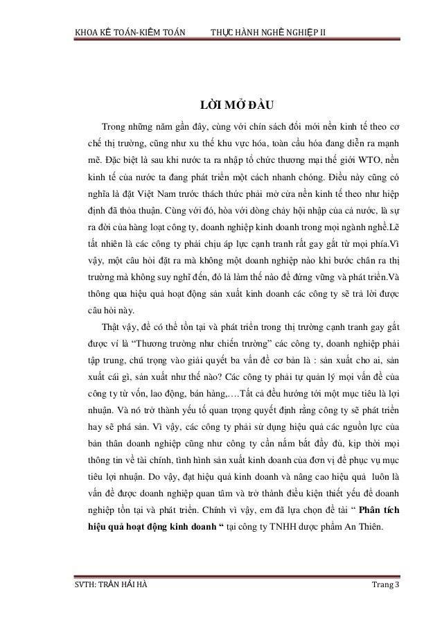 KHOA KẾ TOÁN-KIỂM TOÁN THỰC HÀNH NGHỀ NGHIỆP II SVTH: TRẦN HẢI HÀ Trang 3 LỜI MỞ ĐẦU Trong những năm gần đây, cùng với chí...