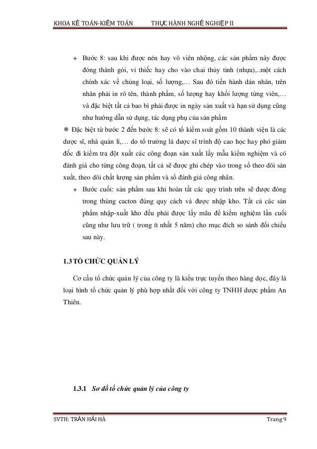 KHOA KẾ TOÁN-KIỂM TOÁN THỰC HÀNH NGHỀ NGHIỆP II SVTH: TRẦN HẢI HÀ Trang 9 + Bước 8: sau khi được nén hay vô viên nhộng, cá...