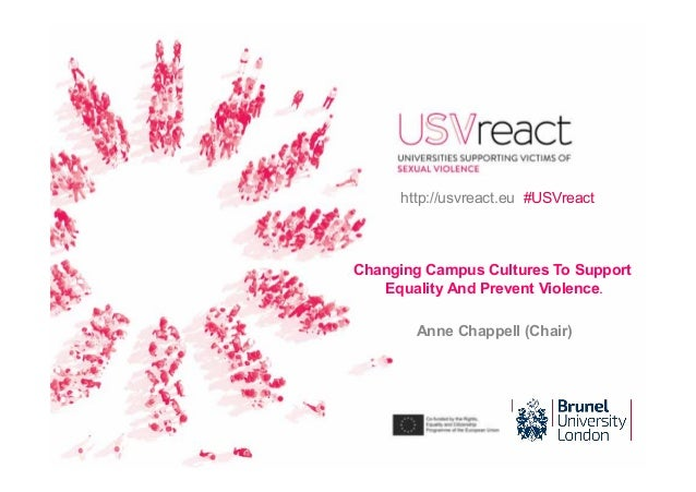 Changing Campus Cultures To Support Equality And Prevent Violence. Anne Chappell (Chair) http://usvreact.eu #USVreact