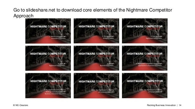 Rocking Business Innovation | 14© NC-Creators Go to slideshare.net to download core elements of the Nightmare Competitor A...