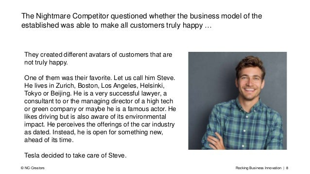 Rocking Business Innovation | 8© NC-Creators The Nightmare Competitor questioned whether the business model of the establi...