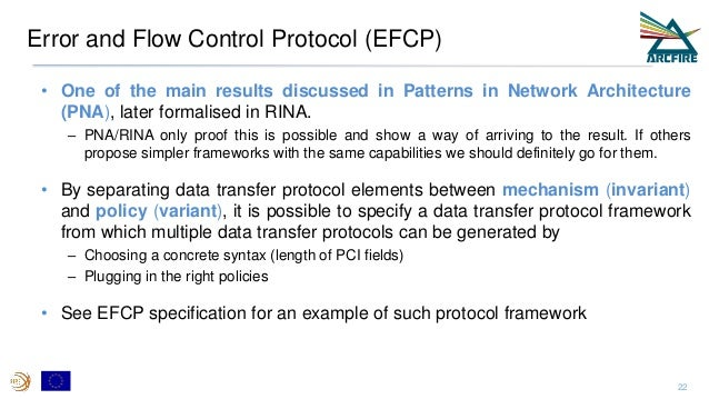 Error and Flow Control Protocol (EFCP) • One of the main results discussed in Patterns in Network Architecture (PNA), late...