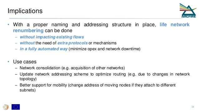 Implications • With a proper naming and addressing structure in place, life network renumbering can be done – without impa...