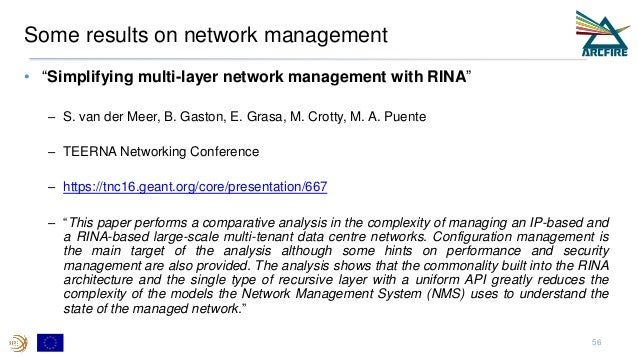 """Some results on network management • """"Simplifying multi-layer network management with RINA"""" – S. van der Meer, B. Gaston, ..."""