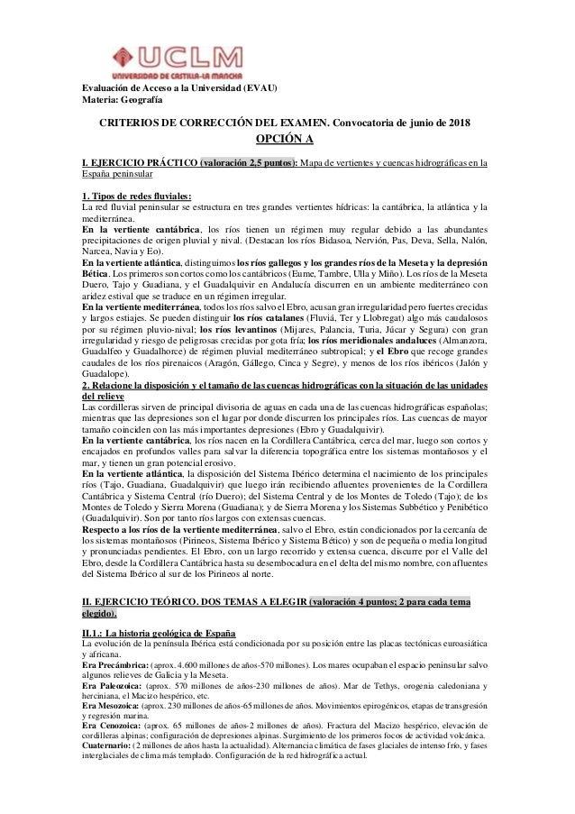 Evaluación de Acceso a la Universidad (EVAU) Materia: Geografía CRITERIOS DE CORRECCIÓN DEL EXAMEN. Convocatoria de junio ...