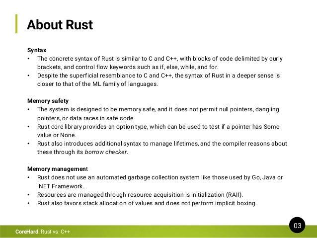 Rust vs C++ Slide 3