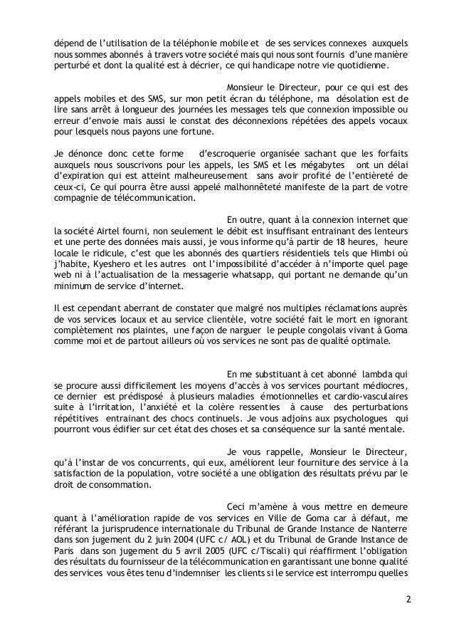 lettre d u0026 39 indignation airtel