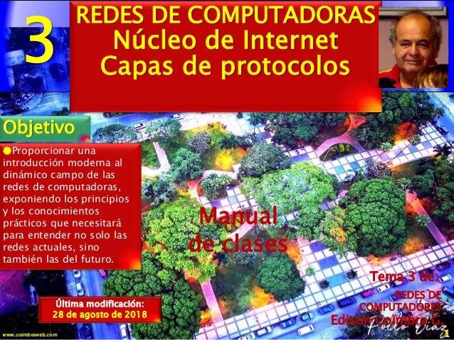 3 1www.coimbraweb.com Edison Coimbra G. Manual de clases Última modificación: 28 de agosto de 2018 Tema 3 de: REDES DE COM...