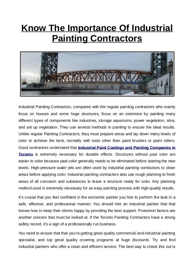 Know The Importance Of Industrial Painting Contractors